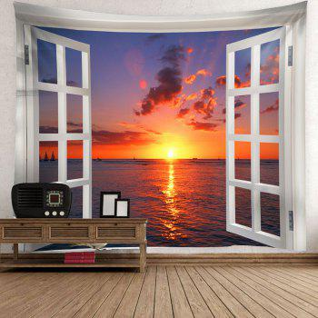 Window Sunset Bird Waterproof Wall Hanging Tapestry - COLORFUL W59 INCH * L51 INCH