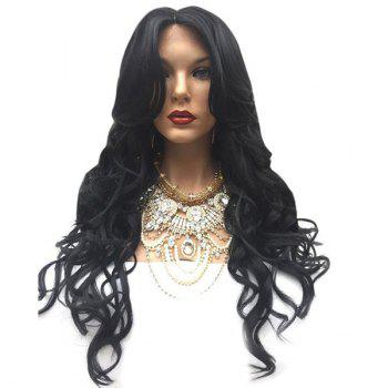 Middle Parting Wavy Long Synthetic Wig - BLACK BLACK