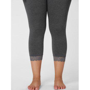 Plus Size Lace Hem Capri Leggings - 4XL 4XL