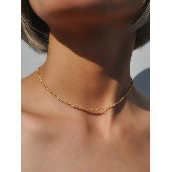 Collarbone Beaded Chain Necklace - CHAMPAGNE CHAMPAGNE