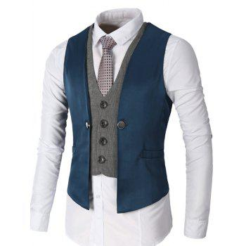 Two Tone Single Breasted Faux Twinset Waistcoat