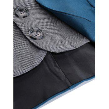 Two Tone Single Breasted Faux Twinset Waistcoat - DEEP BLUE DEEP BLUE