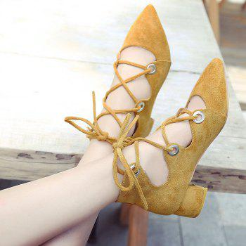 Chunky Heel Pointed Toe Lace Up Pumps - 37 37