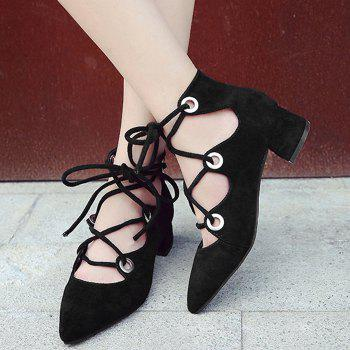 Chunky Heel Pointed Toe Lace Up Pumps - BLACK BLACK