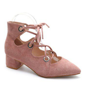 Chunky Heel Pointed Toe Lace Up Pumps - LIGHT PINK 39