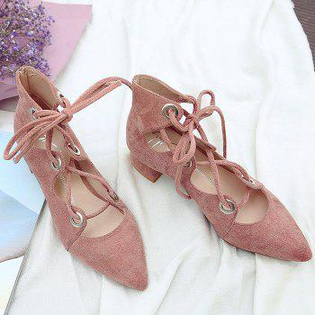 Chunky Heel Pointed Toe Lace Up Pumps - 39 39