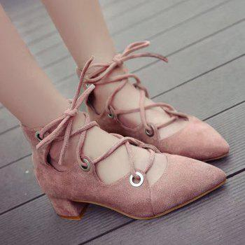 Chunky Heel Pointed Toe Lace Up Pumps - LIGHT PINK LIGHT PINK