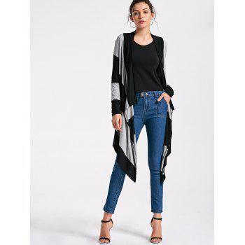 Striped Two Tone Drape Cardigan - L L
