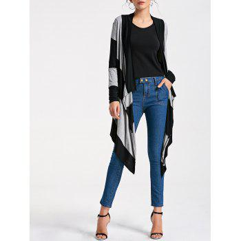 Striped Two Tone Drape Cardigan - STRIPE L