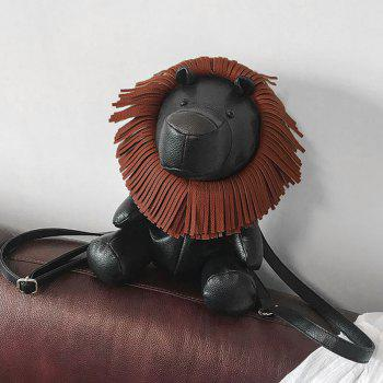 Lion Shaped Faux Leather Backpack - BLACK