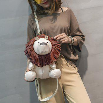 Lion Shaped Faux Leather Backpack - OFF WHITE