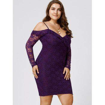 Plus Size Dew Shoulder Frill Lace Bodycon Dress - 4XL 4XL