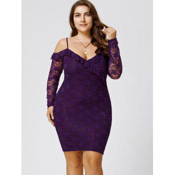 Plus Size Dew Shoulder Frill Lace Bodycon Dress - PURPLE 4XL