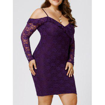 Plus Size Dew Shoulder Frill Lace Bodycon Dress
