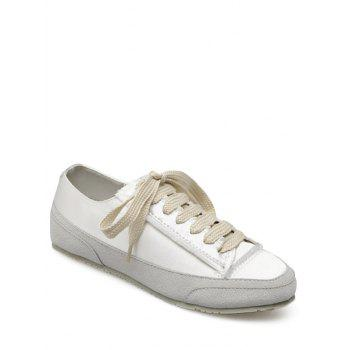 Suede Panel Satin Sneakers - WHITE 37