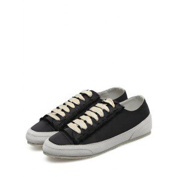 Suede Panel Satin Sneakers - BLACK 40