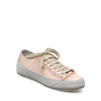 Suede Panel Satin Sneakers - CHAMPAGNE 39