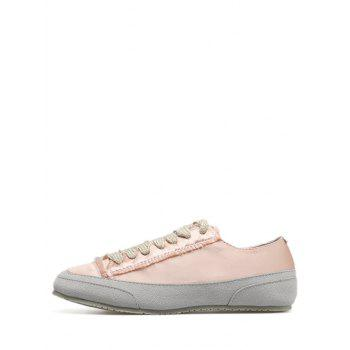 Suede Panel Satin Sneakers - 38 38