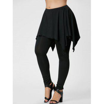 Plus Size Handerchief Skirted Pants - BLACK 4XL