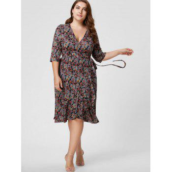 Plus Size Overlap Paisley Dress - COLORMIX 3XL