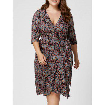 Plus Size Overlap Paisley Dress - COLORMIX 4XL