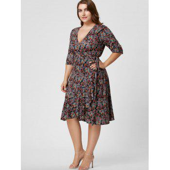 Plus Size Overlap Paisley Dress - 4XL 4XL