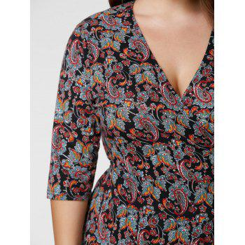 Plus Size Overlap Paisley Dress - 5XL 5XL