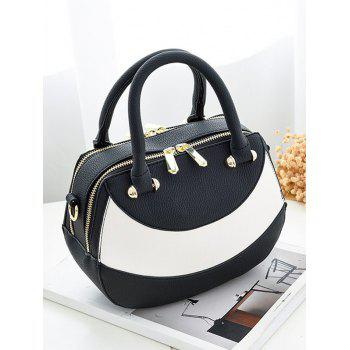 Textured Leather Polka Dot Handbag -  BLACK