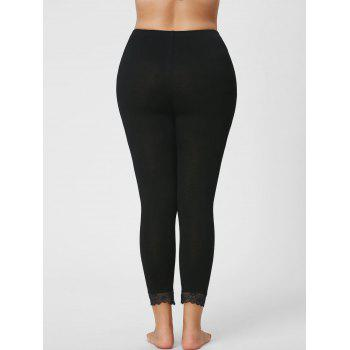 Plus Size Lace Hem Capri Leggings - 3XL 3XL