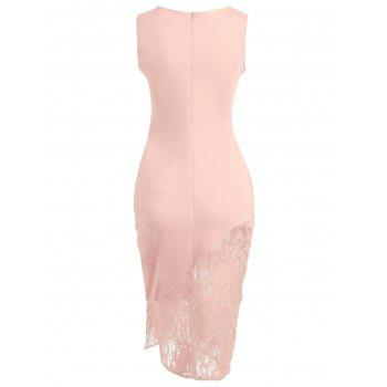 Embroidered Lace Insert Midi Bodycon Dress - LIGHT PINK M
