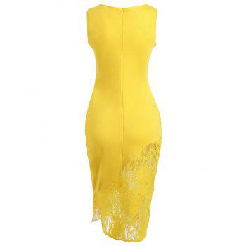 Embroidered Lace Insert Midi Bodycon Dress - YELLOW S