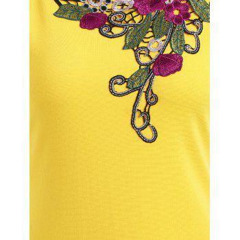 Embroidered Lace Insert Midi Bodycon Dress - YELLOW L