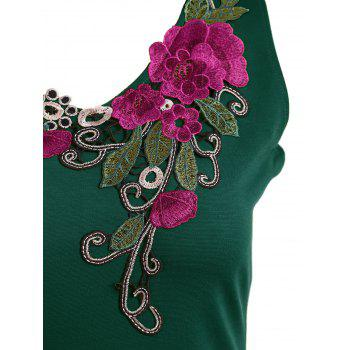 Embroidered Lace Insert Midi Bodycon Dress - GREEN 2XL