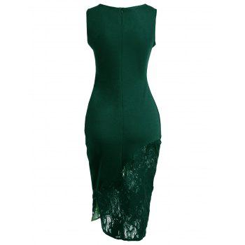 Embroidered Lace Insert Midi Bodycon Dress - GREEN XL