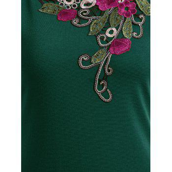 Embroidered Lace Insert Midi Bodycon Dress - GREEN M