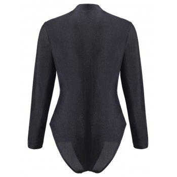 Plus Size Sport Swimsuit with Long Sleeve - BLACK 4XL