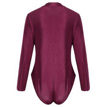 Plus Size Sport Swimsuit with Long Sleeve - WINE RED XL