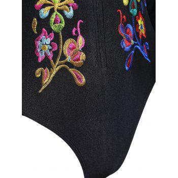 Embroidered Long Sleeve Plus Size Sport Swimsuit - 4XL 4XL