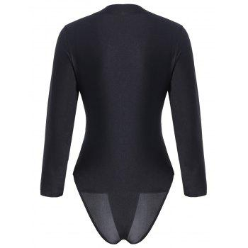 Embroidered Long Sleeve Plus Size Sport Swimsuit - BLACK BLACK