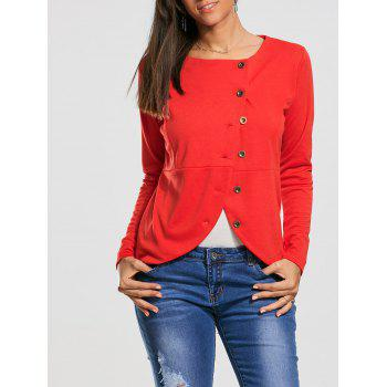 High Waist Button Up Jacket - RED S