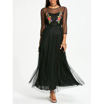 Long Sleeve Flower Embroidery Maxi Yarn Dress