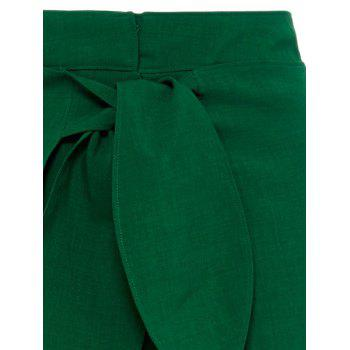 High Split Palazzo Pants with Tie Front - L L