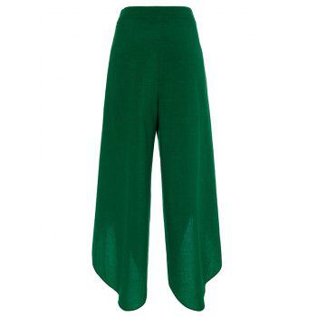 High Split Palazzo Pants with Tie Front - DEEP GREEN DEEP GREEN