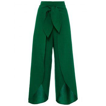 High Split Palazzo Pants with Tie Front - DEEP GREEN L