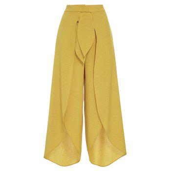 High Split Palazzo Pants with Tie Front - YELLOW L