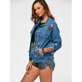 Button Up Flower Embroidery Denim Jacket - S S