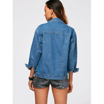 Button Up Flower Embroidery Denim Jacket - M M
