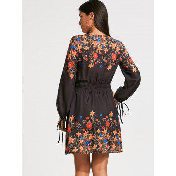 Elastic Waist Floral Print Long Sleeve Dress - COLORMIX COLORMIX