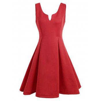 Open Back Sleeveless A Line Dress - RED S