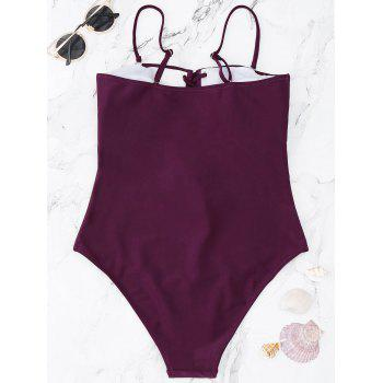 Lace Up One Piece Swimsuit - BURGUNDY BURGUNDY